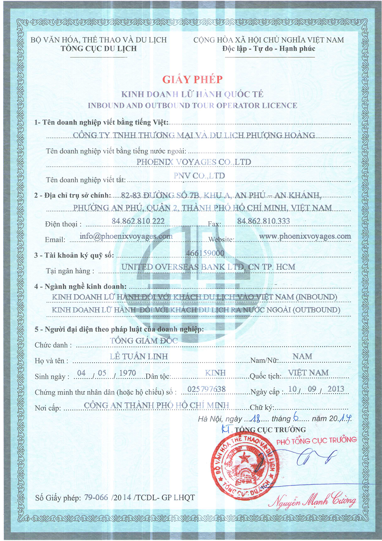 Giấy phép kinh doanh lữ hành quốc tế Phoenix Voyages Việt Nam