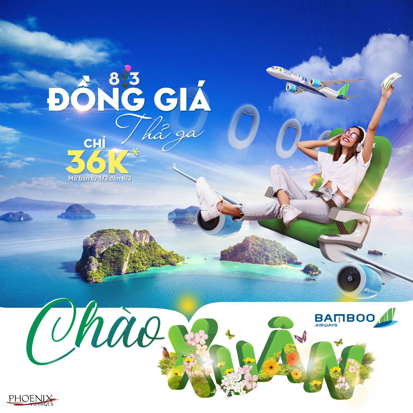 Ưu đãi vé máy bay đồng giá 8/3 Bamboo Airways.
